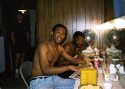 Jerel Taylor and Robert Strain in the dressing room, 1989.
