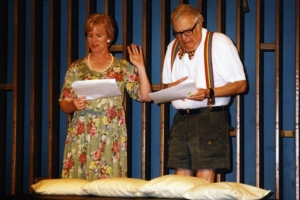 Amy Devitt and Charles Neuringer in the EAT staged reading of Parodies Lost, 1999.