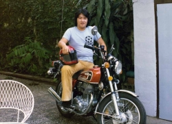 Youngest brother Peter on motorcycle in Sta. Mesa house, mid-1970s.