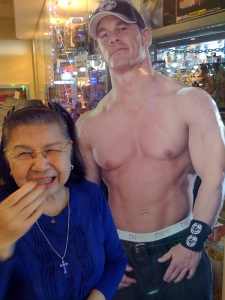 Mom with cardboard Hunk in  Green Hills Mall, December 2008.