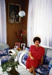 Mom in her sitting room in Sta. Mesa house, late-1980s.
