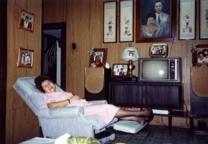 Mom relaxing in sitting room in Sta. Mesa house, early 1980s.