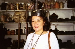 Daity Salvosa in Baguio store selling native artifacts, 2005.