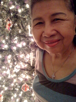 Mom with X'mas tree at home, 2008.
