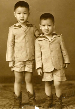 Studio photo of brothers John and Peter, late 1950s.