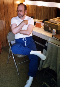 Charles Whitman (Lee ) in the dressing room at the Lawrence Community Theatre.