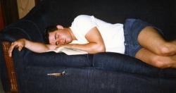 Rudy Burlin asleep in the green room.