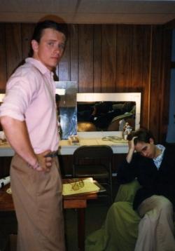 Joe McCauley and Jay Karnes in the dressing room.