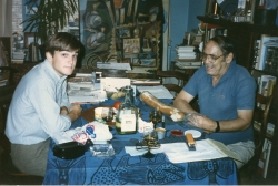 Don Dinwiddie in dining room of Ed Ruhe's apartment, mid-1980s.