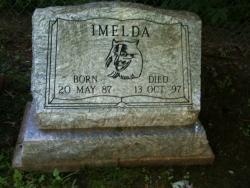 Memorial to Imelda in the backyard at 1132 Randall Rd.