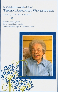 Program for Teresa Windheuser memorial.