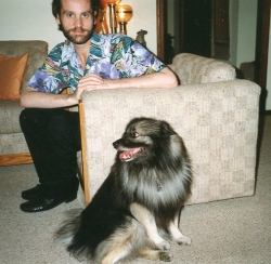Jim Erhdal with Imelda in family room at 1132 Randall Rd., 1991.