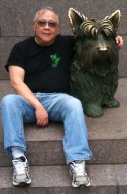 Paul with Fala in FDR Memorial in Washington DC, July 3, 2009.