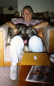 Grant Goodman with Imelda in family room, late 1980s.