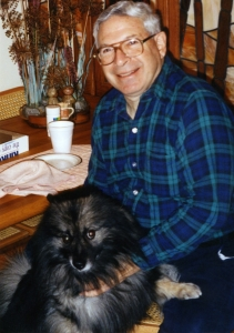 Grant Goodman with Imelda in kitchen, early 1990s.