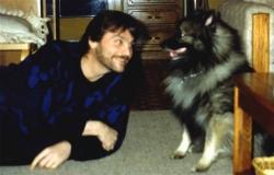 Jim Erdahl on floor with Imelda, 1990.