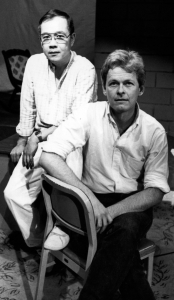 Paul with director Paul Hough on the set.