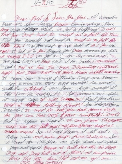 Sample of hand-written letter from John William in prison, to Paul, 1990.